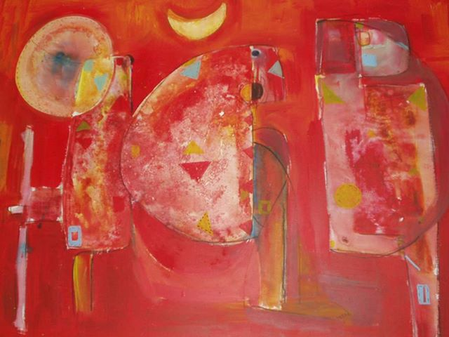 """The Red Composition"" by Abraham Awalom - one of several dozen lost works from Eritrea, available in print form only. [Paste from prior post: This week I had the pleasure of working with Abraham to go through digital images of his past works - hundreds of them! The periods they come from are distinctive in style and color palette. It was fascinating to witness his artistic growth in this way, though heartbreaking to see how many great works have been lost forever. We are starting an Etsy page for him to sell his prints and originals - you can look him up by name on Etsy's website to purchase or go to his personal site at AbrahamArtwork dot com.] #eritreanart #seattleartist #artistsoninstagram #acrylicpainting #refugeescontribute #refugeeswelcome #artmatters #lostart #acryliconcanvas #artlife #immigrantsmakeamericagreat #supportart #supportartists #blackartsupport"