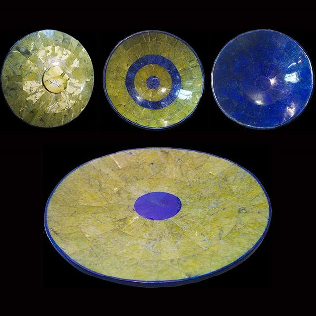 Bowls and serving platter crafted from gorgeous lapis lazuli and jade by the expert hand of an Afghan designer who has no shortage of surprise talents. Given the encouragement and opportunity to create, a true artist will rarely disappoint. I am enamored with Sabori's latest endeavors in stone work! #immigrantsmakeamericagreat #refugeescontribute #refugees #artmatters #stoneartisan #jade #lapislazuli #afghanart #afghanartist