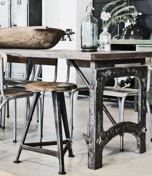 Industrial interiors - warehouse 701 - iron and wood dining table