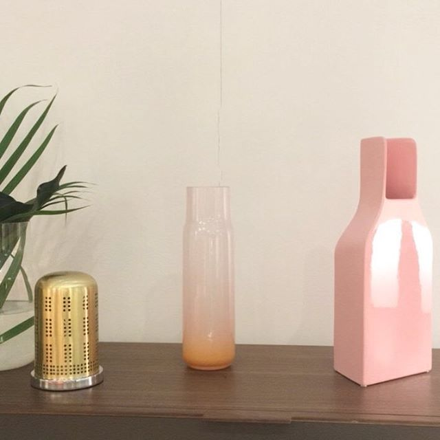 Just a lovely selection of vessels sat on a shelf in the @ligneroset_fr stand at @maisonetobjet. I'm such a sucker these colour combos 😍 . . . . . . #pink #peach #gold #greenery #vessels #homewares #curation #spotted