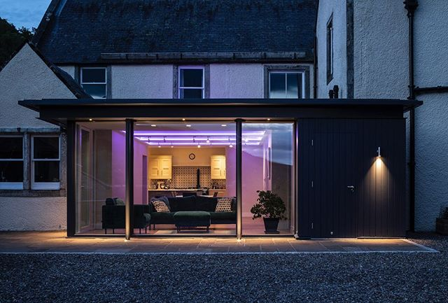 Project in Scottish Borders. New high performance extension has replaced 1980s conservatory with kitchen opened up to views down the Tweed Valley. Lighting by Victoria Richardson.  #lotsoflight #scottishborders #scottisharchitecture #nordanwindows #russwood #tweedvalley #listedbuilding