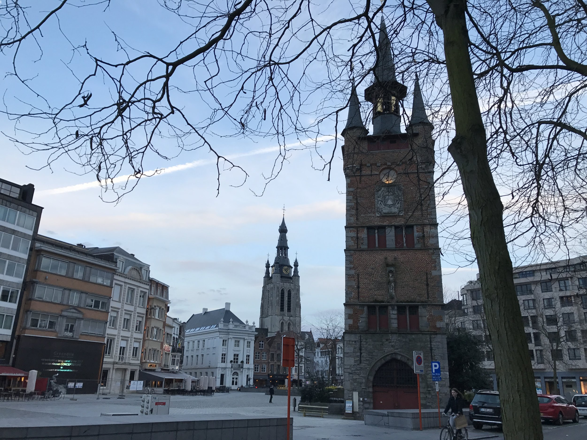 The clock tower in Kortrijk's main square.