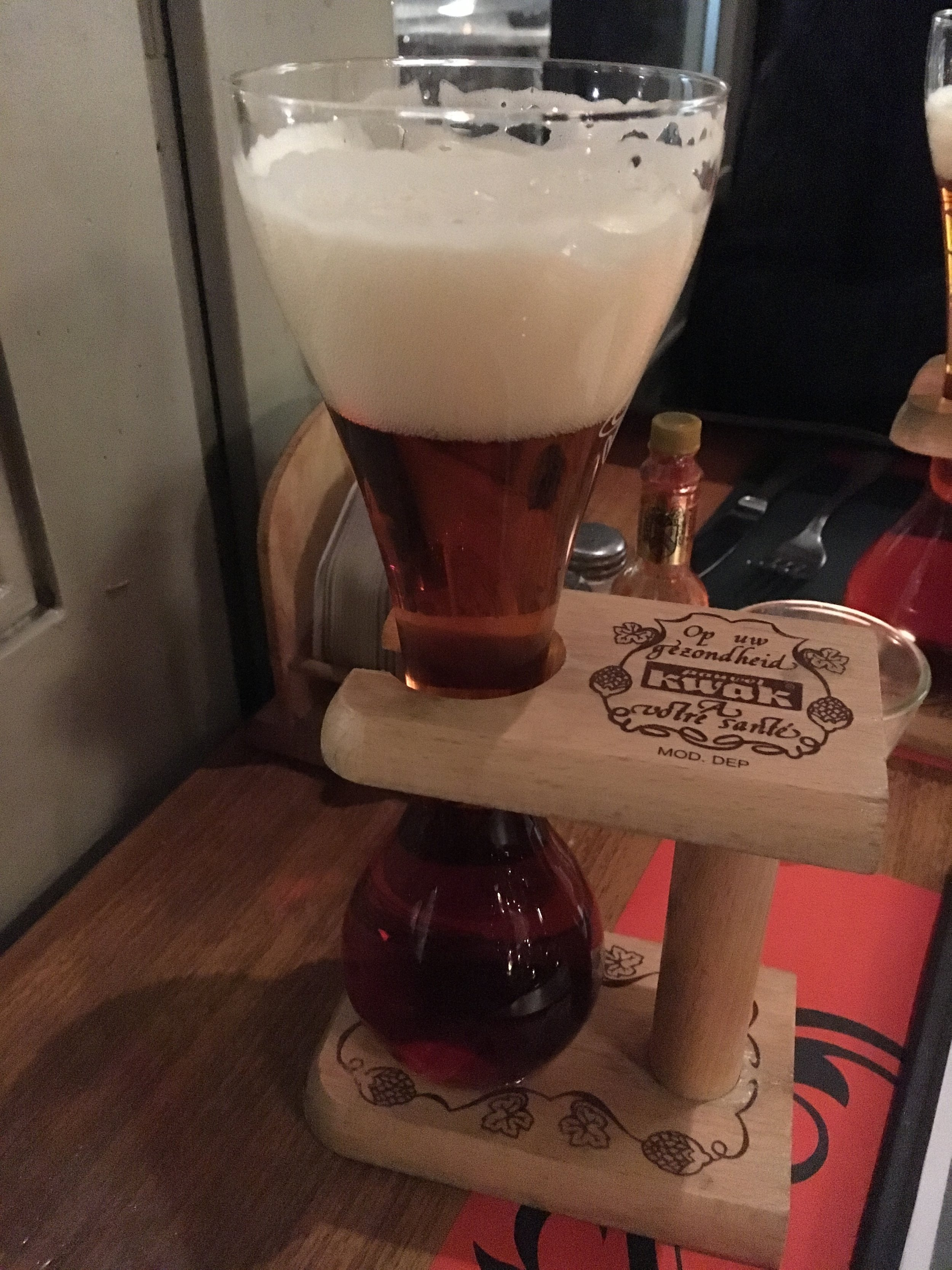 Kwak, a better beer than the novelty glass suggests. Enjoy in moderation because it's deceptively strong.