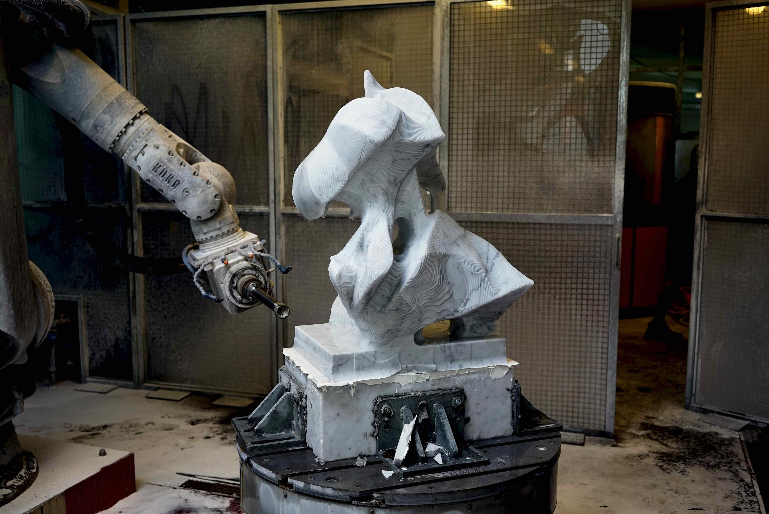 Work in progress…. Wout Neutkens' Flower made in marble.