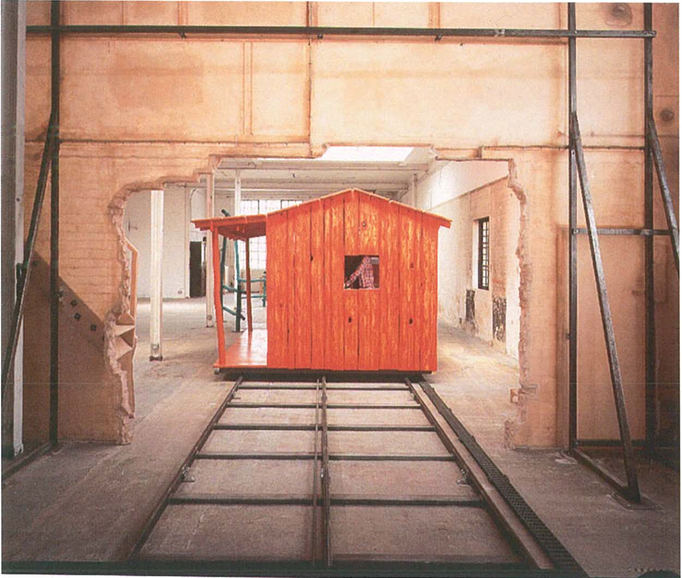 Installation view of Paul McCarthy's  Bunkhouse  (1996)