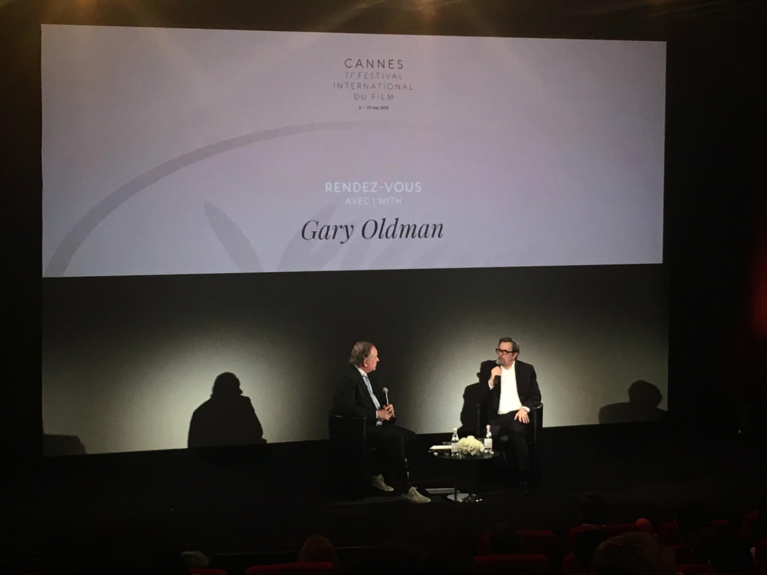 L-R Douglas Urbanski and Gary Oldman in conversation at the 71st Festival de Cannes / courtesy of I AM FILM