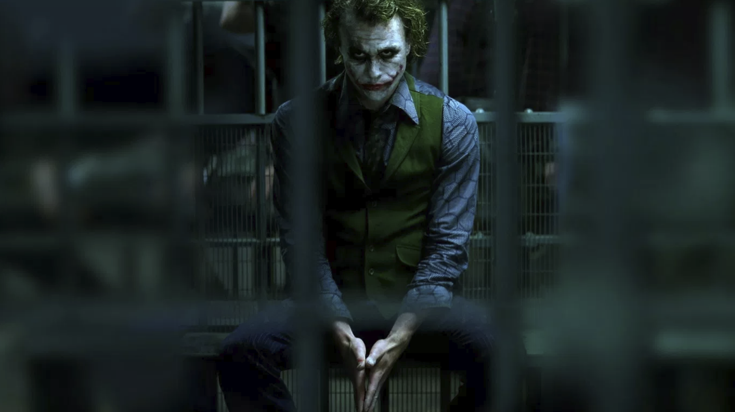 Heath Ledger as The Joker in  The Dark Knight  (2008), directed by Christopher Nolan - courtesy of Warner Bros.