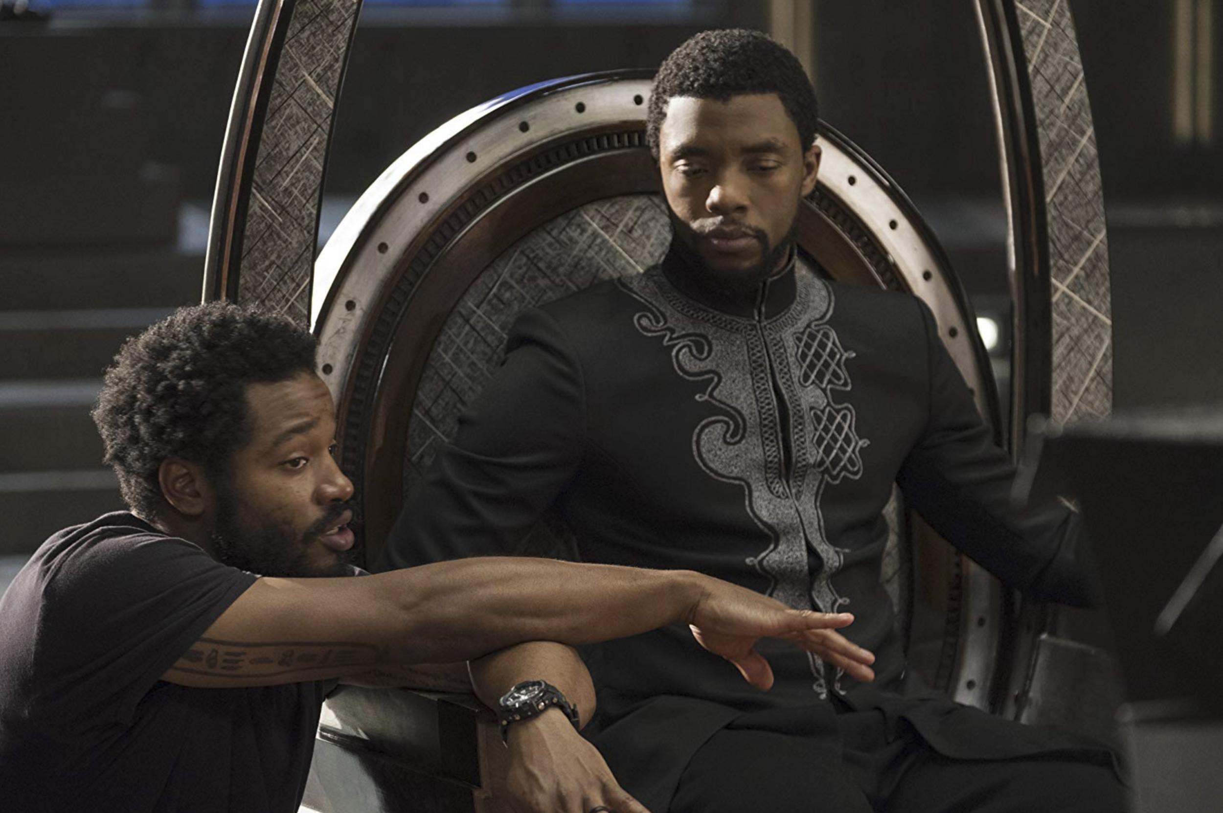 Ryan Coogler directing Chadwick Boseman in  Black Panther  (2017) - courtesy of Marvel/Disney
