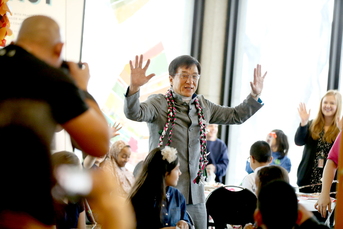 Jackie Chan at the opening of  Jackie Chan: Green Hero  exhibition, Leonardo Museum, Salt Lake City Utah