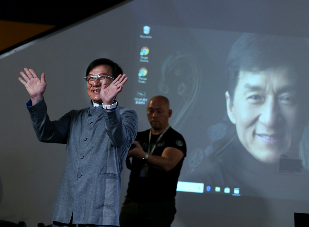Jackie Chan speaking at 'FOCUS: Understanding Environmental Protection and Sustaining a Civilisation Through Reuse and Redesign' in Salt Lake City, Utah -  Courtesy of the Artist