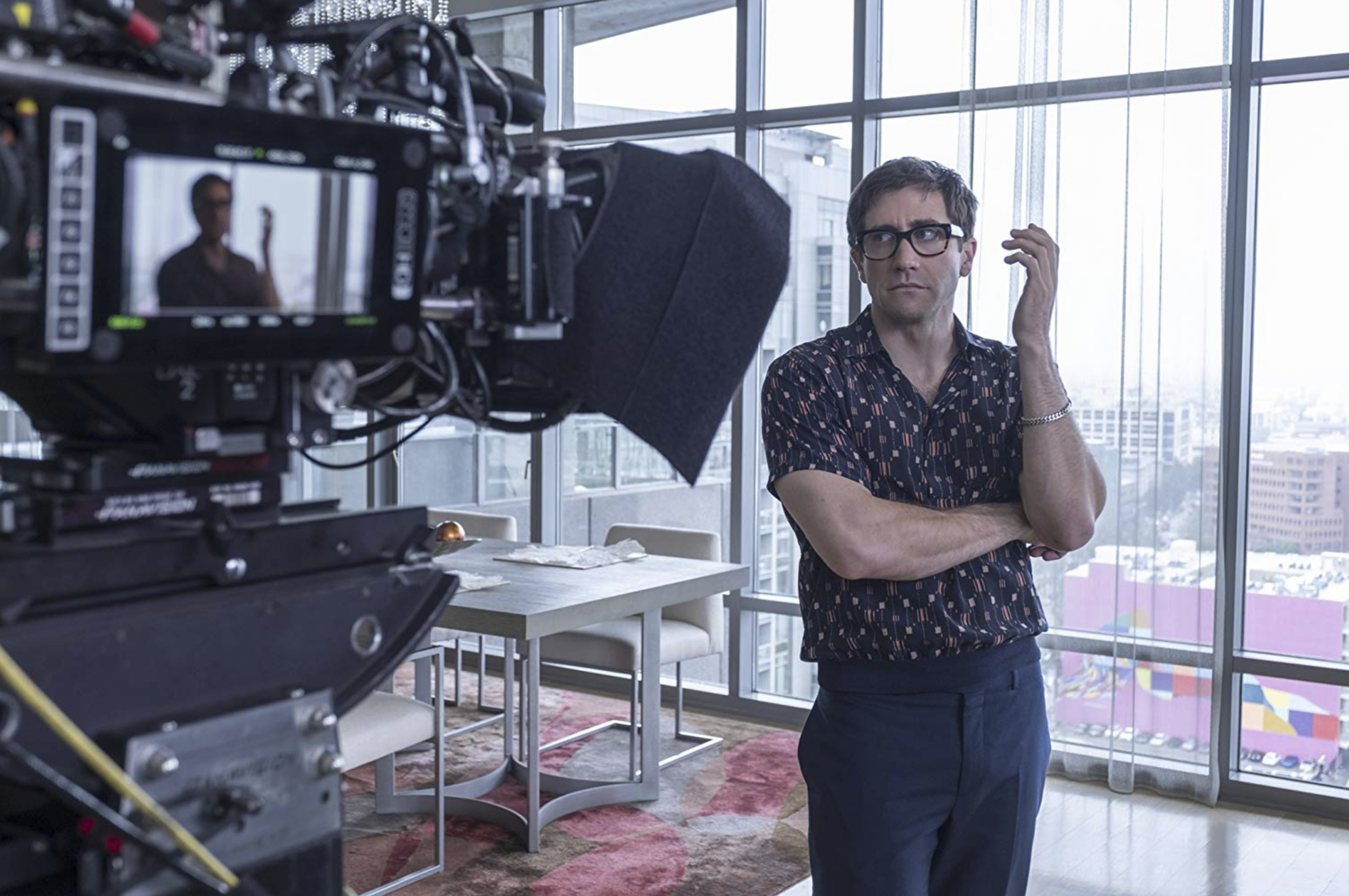 Jake Gyllenhaal behind the scenes in  Velvet Buzzsaw  (2019) - Courtesy of Claudette Barius/Netflix