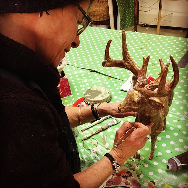 Repairing a clients much loved stag! 🦌 🎨 #stag #handpainted #repair #handcrafted #fixit #mccormickweeks