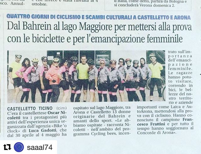 Now we are famous in Italy baby! #Repost @saaal74 with @get_repost ・・・ Soddisfazioni! First of all a big thank you to my friends Francesco Frrattini and Oscar Nicoletti for teaming up with me in this project, thanks to @alka.sport for producing on a short notice all the beautiful cycling kits, thanks to @concordearona for the hospitality and to all the other partners and at last but not least thank you to @sarahcyclist and all the @cyclingbees ...I'm quite sure Arona won't forget you 😂👍. . . #bikeoclock #itstimetoride #theperfectride #aronaitaly #lagomaggiore #cycletour #cyclingholiday #bikeguide #biketour #workwithfriends #friendship #newfriends #cyclinglife #cyclingbees #italycycling #thankseveryone #willbeback