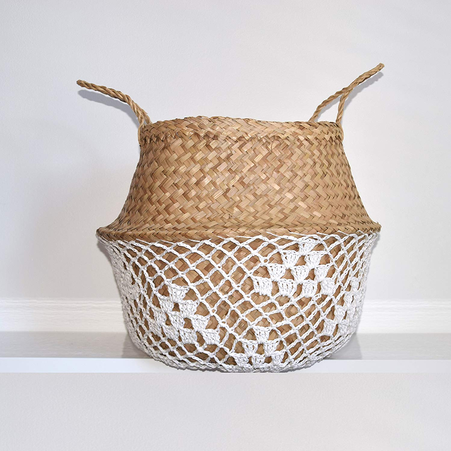 This basket from Amazon adds so much texture with the white net overlay.