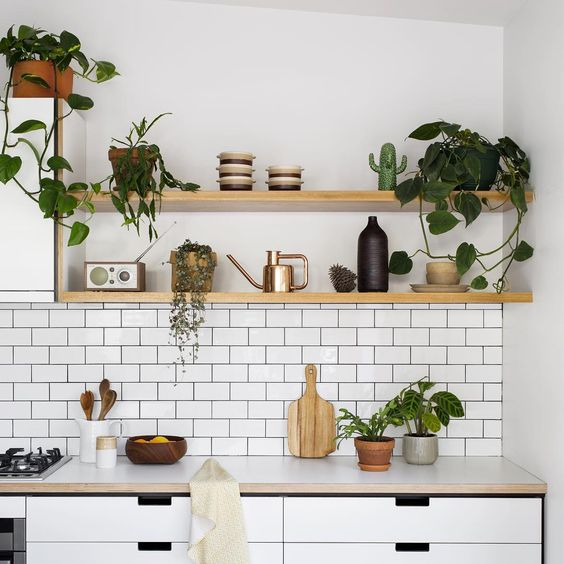 Maybe its got something to do with all the greenery, but this look is so warm! Also this natural pine would tie in well with our light wood dining table on the other side of the kitchen. That could help some visual elements flow through our open concept house.