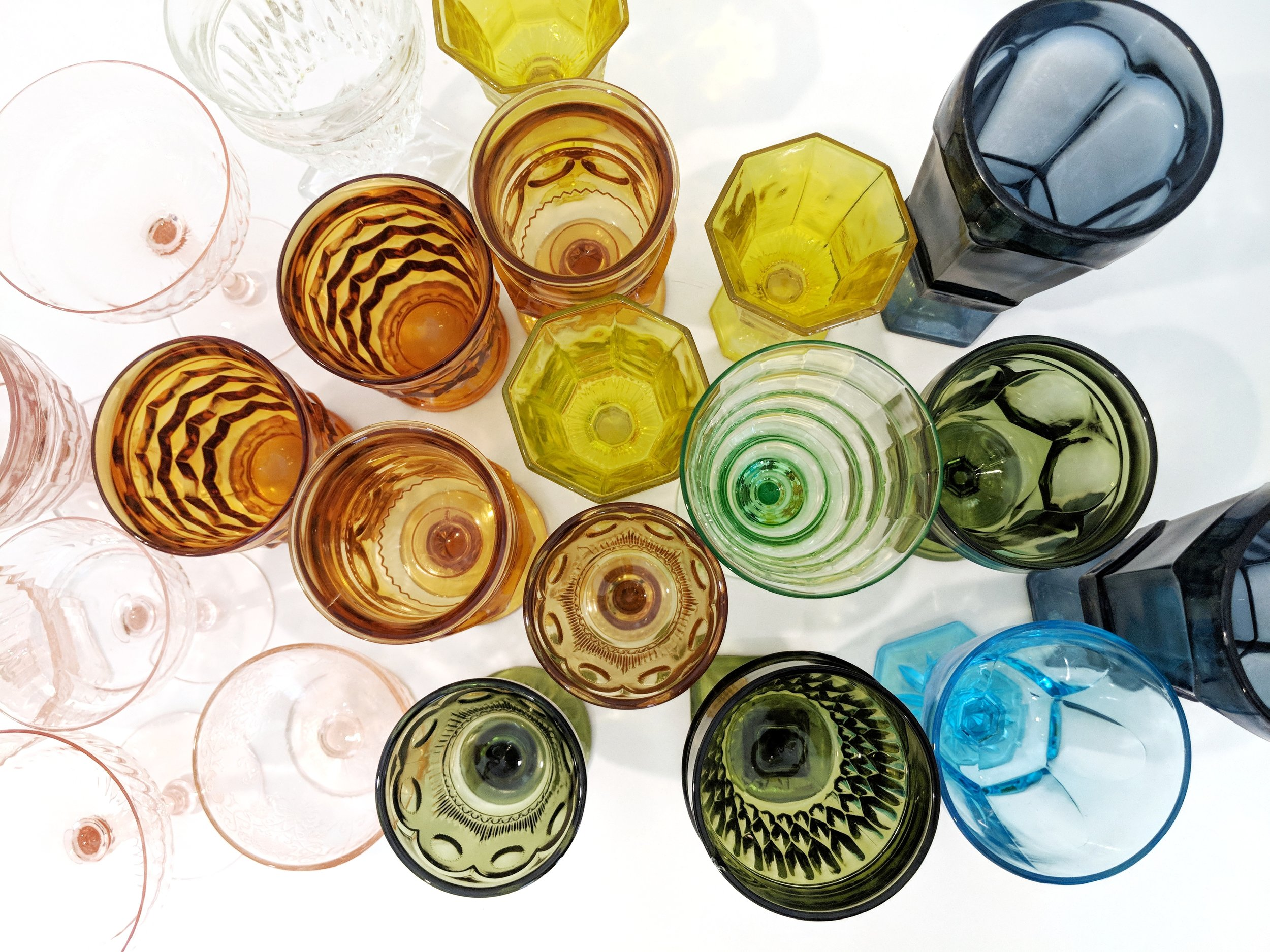 My growing collection of Depression glass goblets and wine glasses.