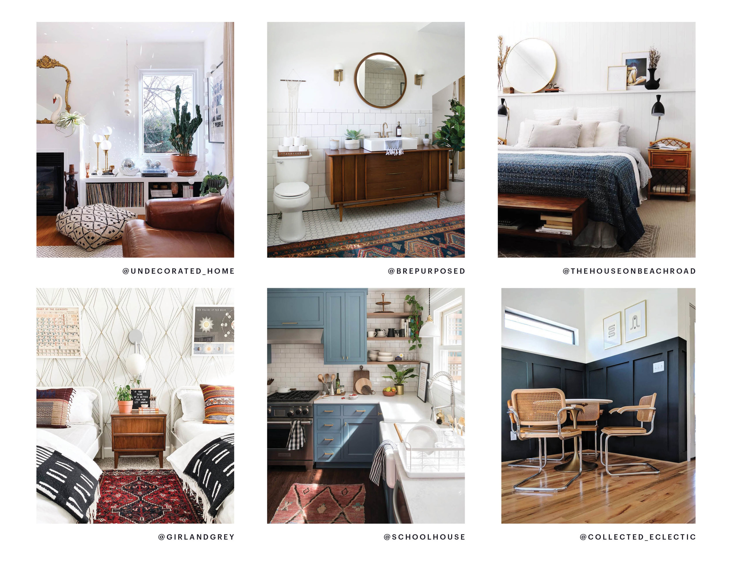 This is my most current list of loves (and yes, I included my own dining nook on the list!) By looking at these all together you can get a great idea of what I like. Vintage rugs, geometric patterns, bold textiles, soft blues, warm woods, brass tones…
