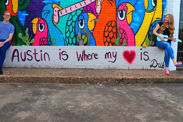 Not our best photo but the message is still true. Austin = Home. - - Blog post listing our favorite places in Austin on our website. Blog link in bio! . . . . . #austinmurals #indieband #austinmusic #austinblogger #atxmusic #fenderukulele #fenderacoustic #atxband #austinband #austinmusicgroup #husbandandwifeteam #agameoftones #colorcolourlovers #colorcrush #colormehappy #colorsplash #crafttherainbow #colorventures #dailydoseofcolor #dscolor #happycolors #howihue #huntgramcolor  #justbehue #livecolorfully #thatcolorproject #austinisthebest