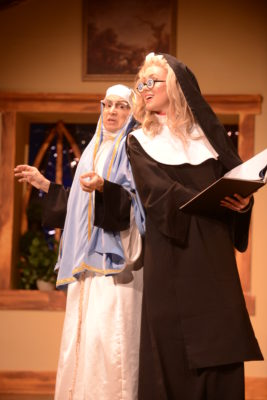 Natascha Girgis as Sister Augusta and Charlie Gould as Sally (photo credit: John Watson)
