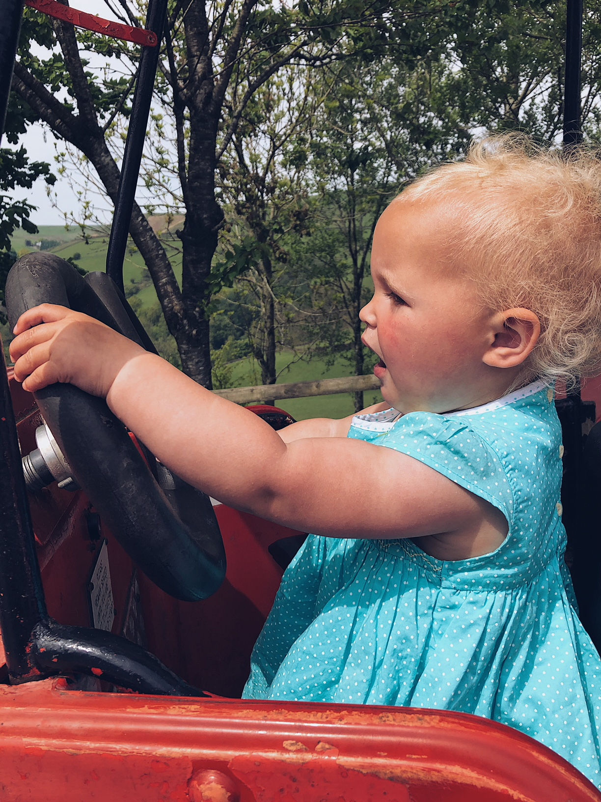 Matilda driving the tractor - ALL day.