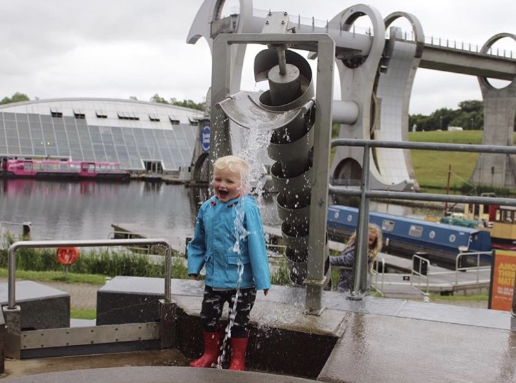 The Falkirk Wheel at the water play park