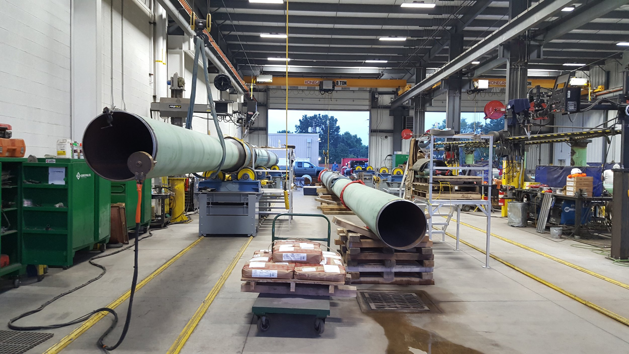 Pipe fabrication began in our Hubbard shop in August of 2016; fabricated pieces were set outside in our yard and shipped to each site when they were needed for field install.
