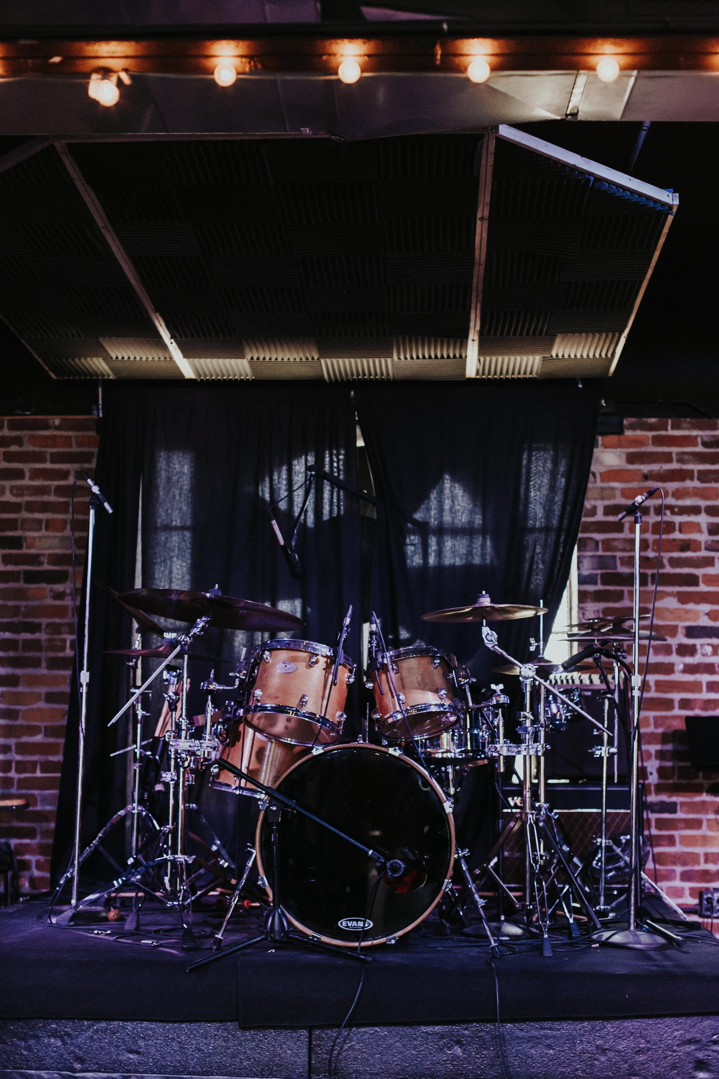 Sound Equipement - Our stage is equipped with professional monitors, speakers, microphones, amps, a drum set, and a keyboard.*contact us for more info