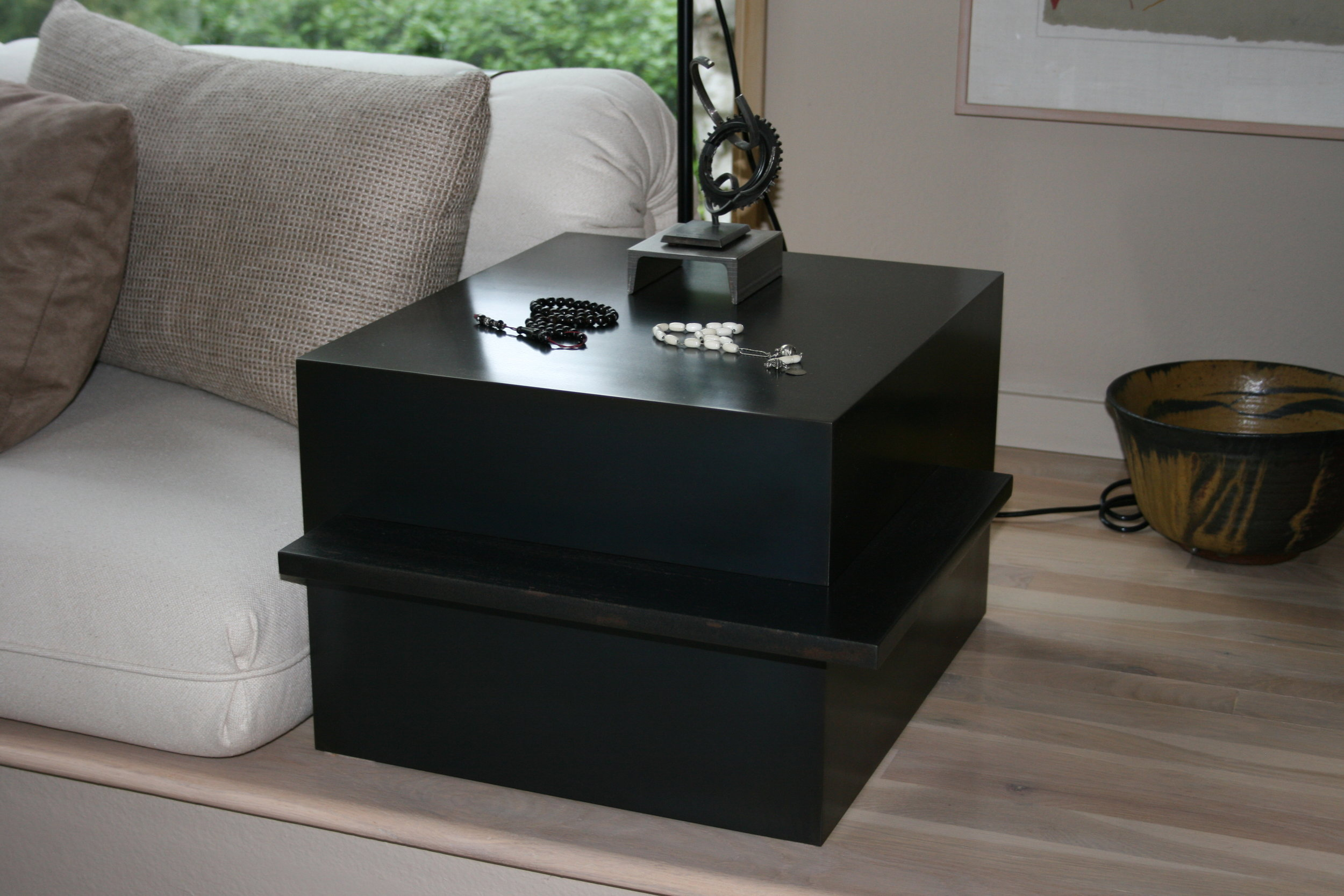 Cube Table with Ledge, Blackened Steel.JPG