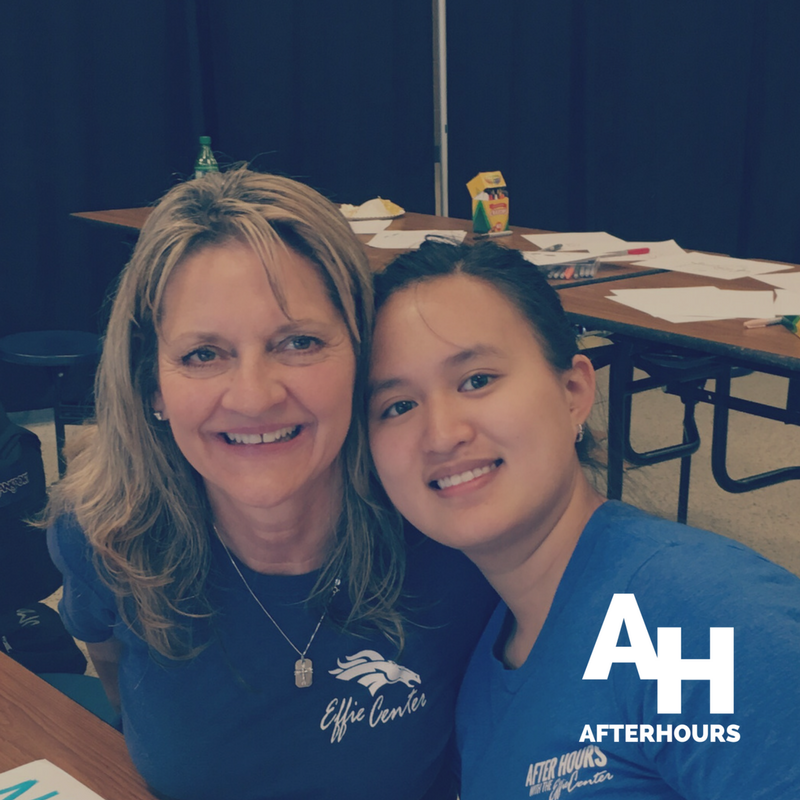 - Volunteer Stephanie McMurray with one of the first students to embrace the program at McNeil HS.