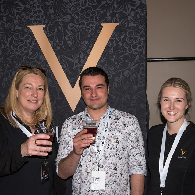We were excited to meet @DrakeRossEvans yesterday at #Terroir2019. Drake is from @eatelcamino on Clarence in Ottawa, and he's the winner of our #VineaSpirit Cocktail Competition. We proudly served Drake's creation - 'Oh Nurse' - at @TerroirTalk and, by way of reward, he will also be attending today's #TerroirRetreat as a guest of @reifestatewinery. ˙ Drake is flanked by our Director of Marketing Andrea Kaiser (left) and Retail Manager Lyndsay Adamson. ˙ V for Victory V for Vinea Cheers Drake!