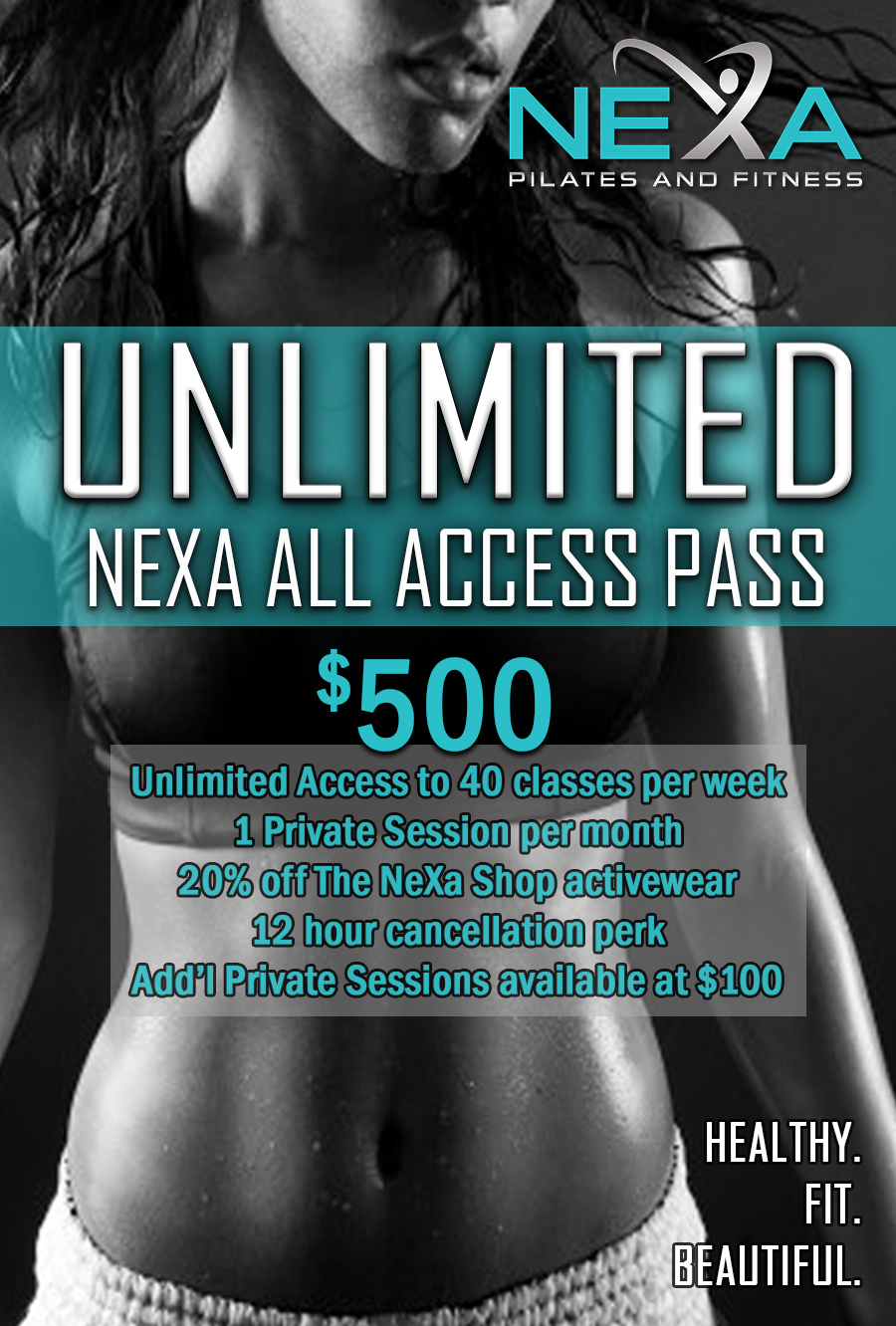 unlimited nexa all access pass - Attend an UNLIMITED amount of classes each day of the month!Access to over 40 classes per week.2 Private session included each billing cycleNo Commitment -- easy, no-fuss membership cancellation policy.20% off The NeXa Shop Merchandise purchased in studio only.12-hour cancellation policy – versus our normal 24-hour policy