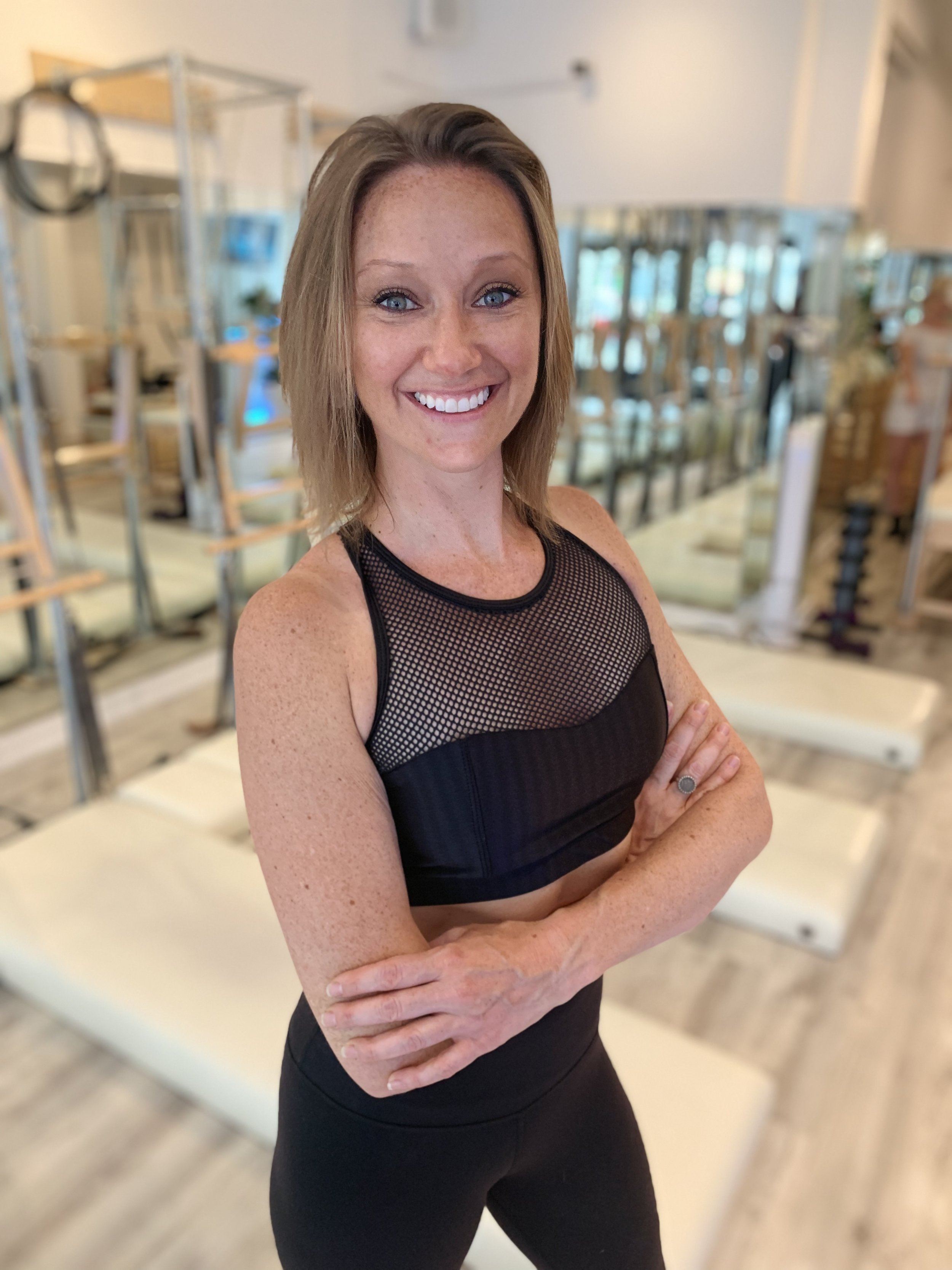 Katrina   Katrina loves how Pilates changed her body, increased her energy level and improved her posture. Katrina's exudes excitement about Pilates and her students cant help but feel the same. Her teaching is dynamic and spirited. You can always expect a nice smile and joyful attitude when taking her class.