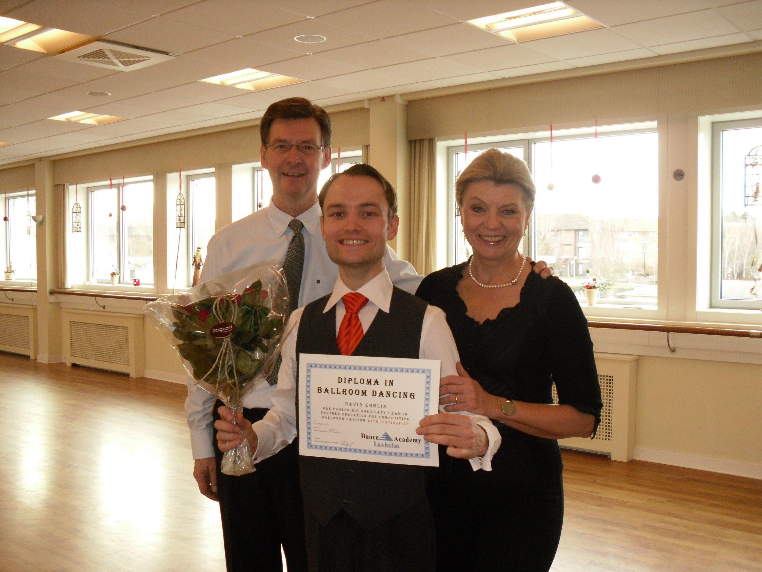 David Koglin receiving his Diploma in Ballroom Dancing at Dance Academy Laxholm