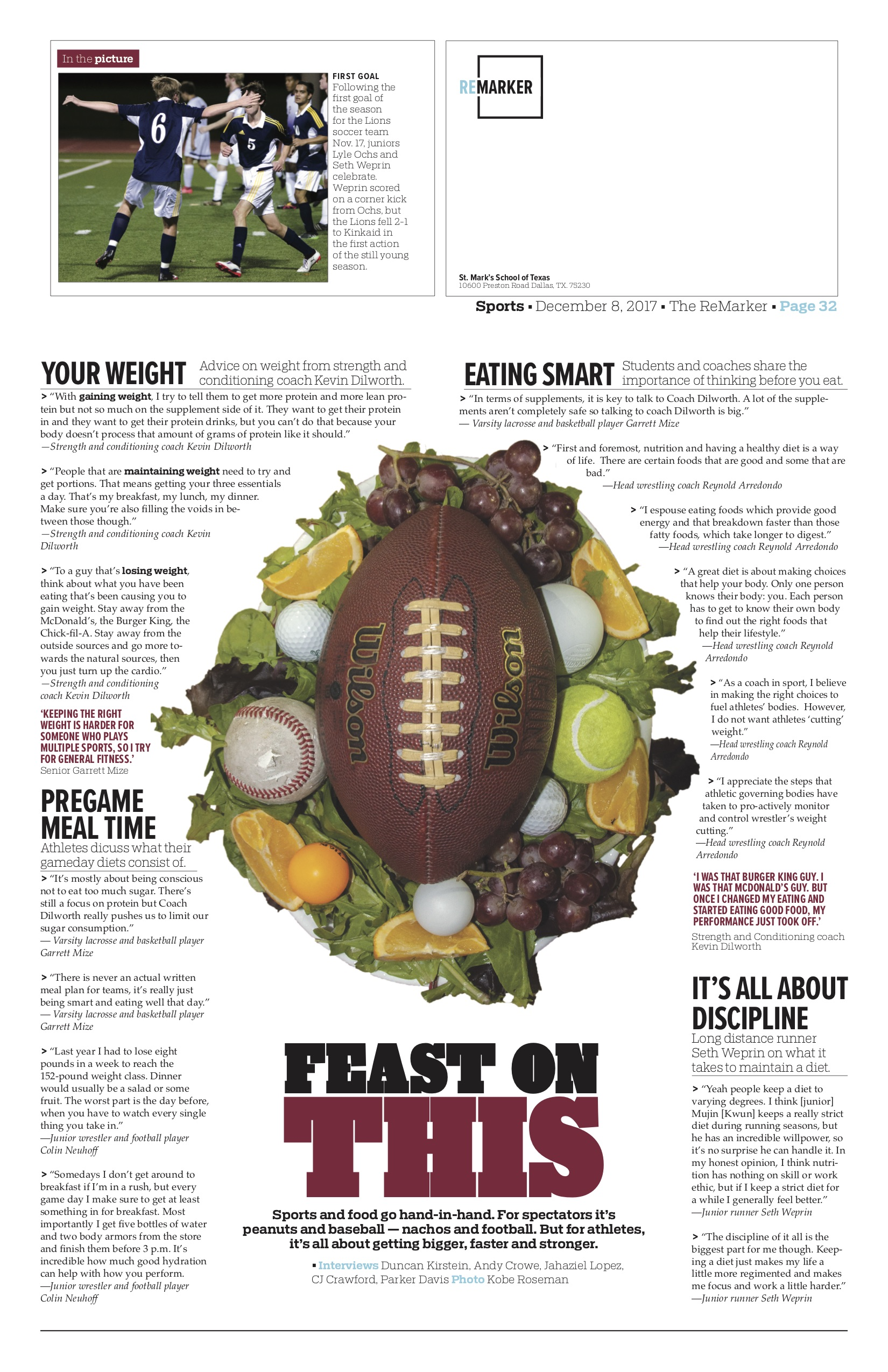 Embracing the design freedom of our back page, for this story on sports nutrition, I used a photo illustration and an alternate copy style to tie everything together in a reader-friendly way.
