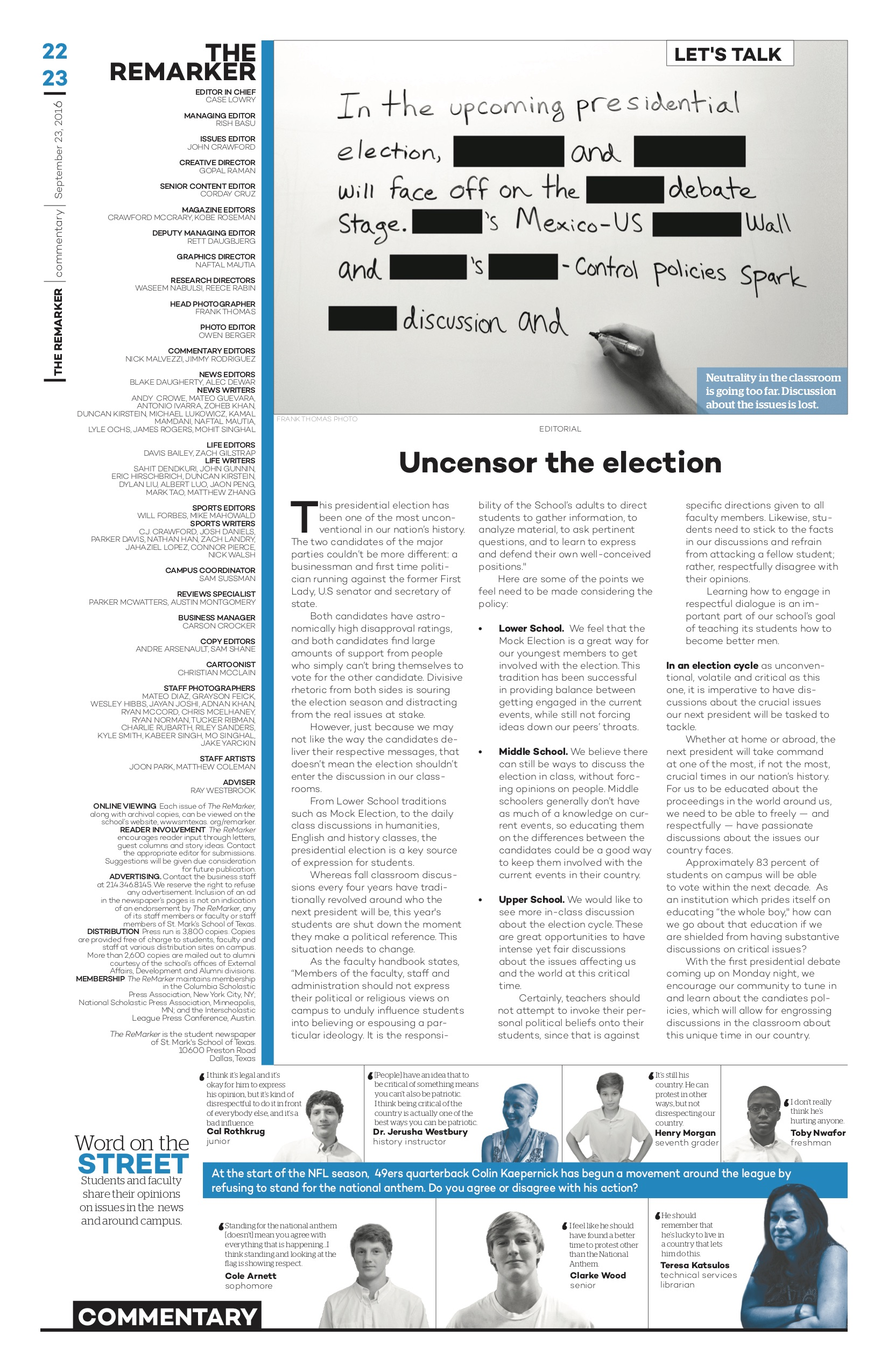 "When redesigning our newspaper last year, we decided to rework our commentary pages. In this page, we introduced the new ""word on the street"" and dominant visual to the commentary section."