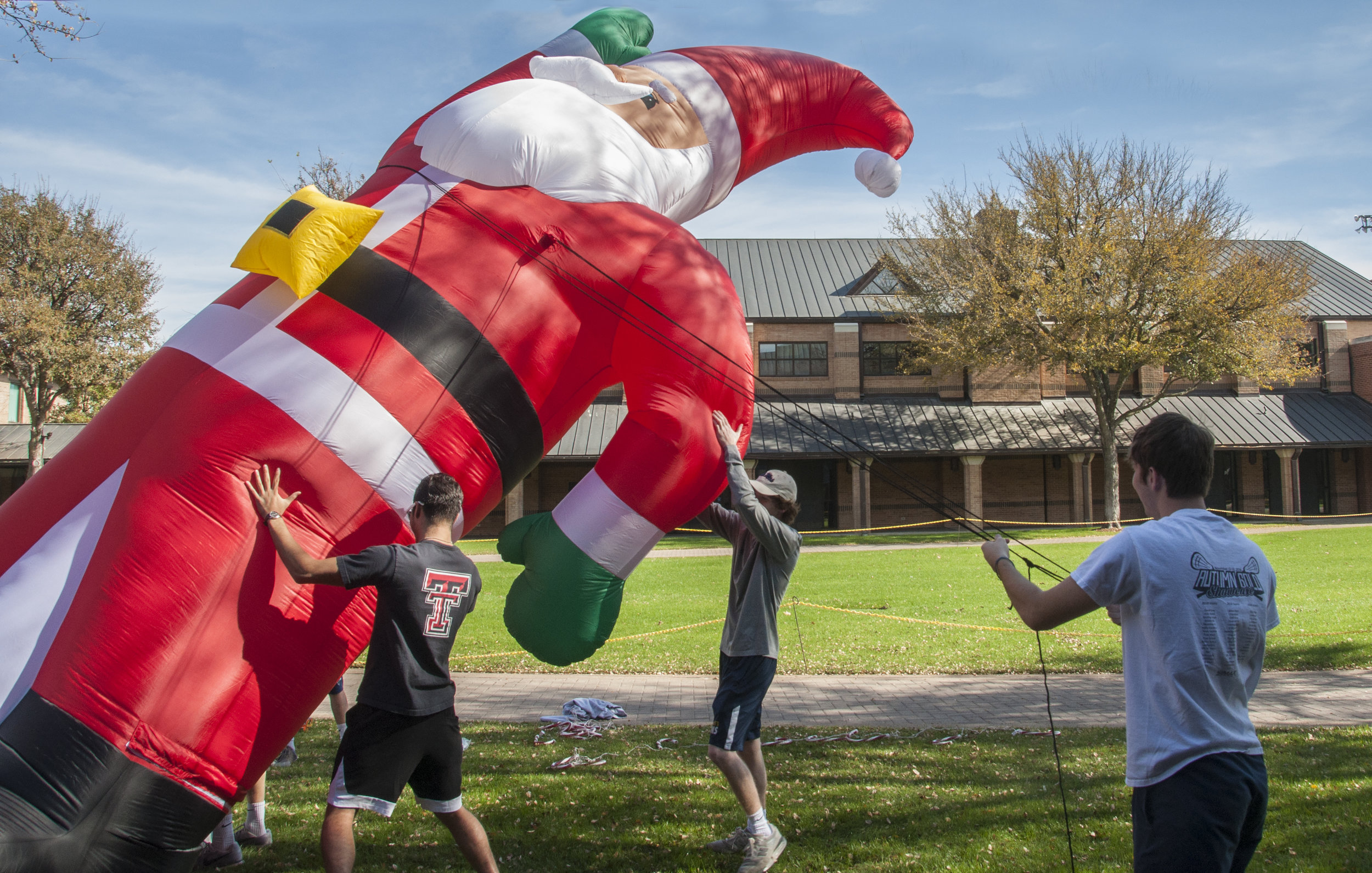 """The giant Santa inflatable was a new addition to the decorations this year,"" senior Matt Freeman said. ""It was really hard to set up, but I'm so excited to see what people say when they see it in the middle of campus."""