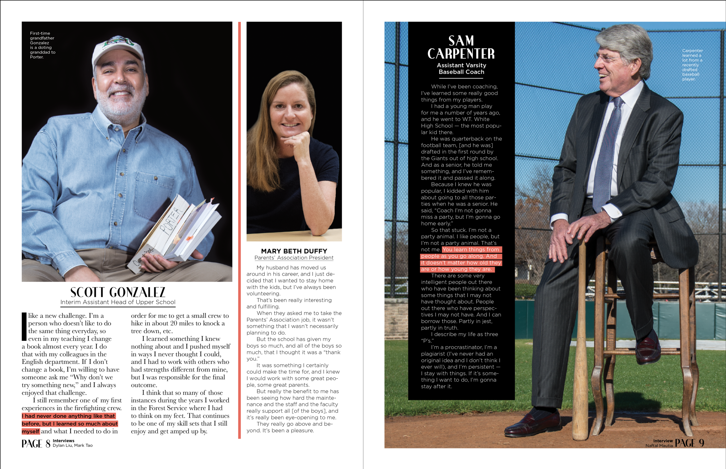 """Here's another inside page I designed for the issue of  Focus Magazine  on the """"path to manhood."""" The photo on the right broke our design theme of studio portraits on black backgrounds — however, this baseball field environmental photo stands out even more when juxtaposed with the other photos."""