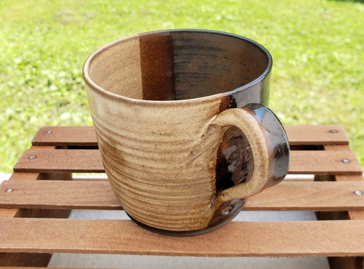 small mug - cream and broken brown glazedark brown clay body10 ounce capacity$25#SM001