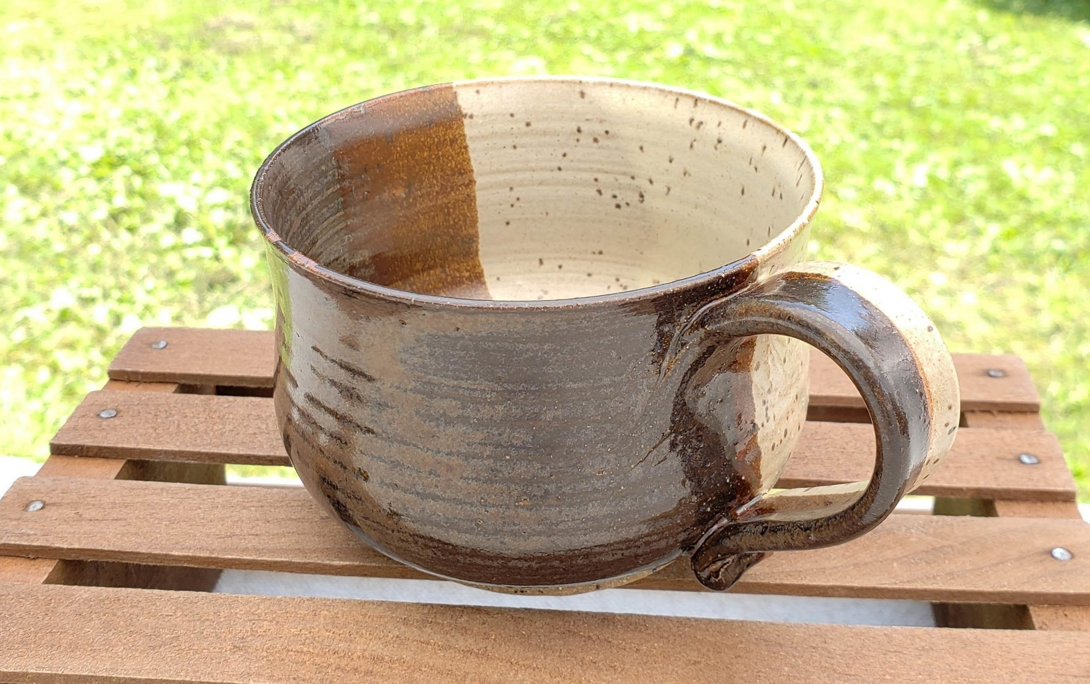 medium mug - cream and broken brown glazespeckled tan clay body12 ounce capacity$26#MM008