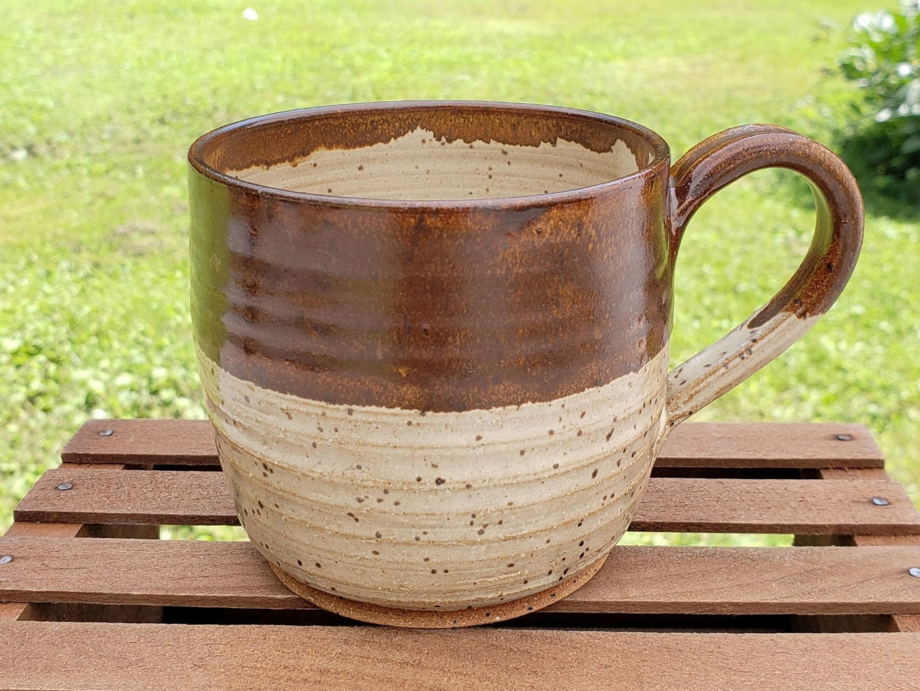medium mug - cream and broken brown glazespeckled tan clay body16 ounce capacity$27#MM006