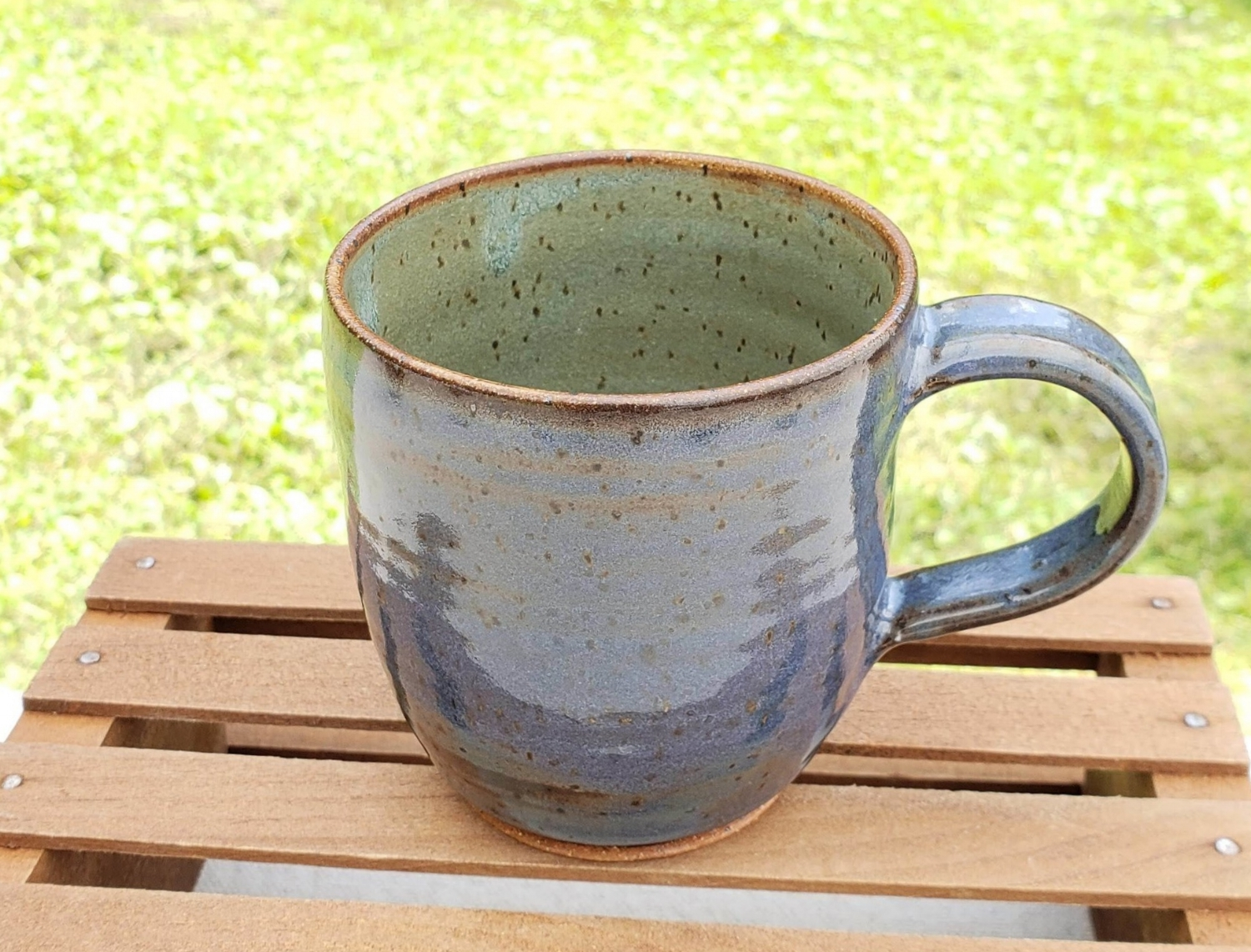 Small mug - blue and sage glazespeckled tan clay body12 ounce capacity$26#SM010