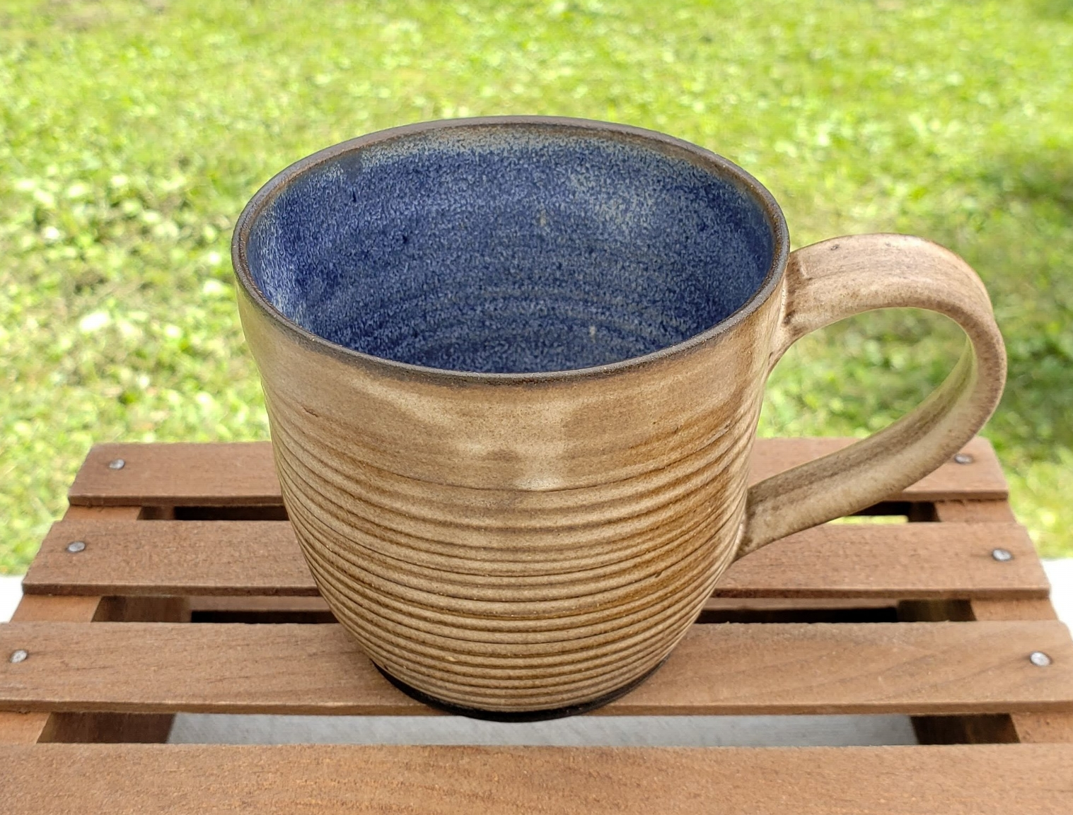 medium mug - cream and cobalt glazedark brown clay body13 ounce capacity$26#MM012