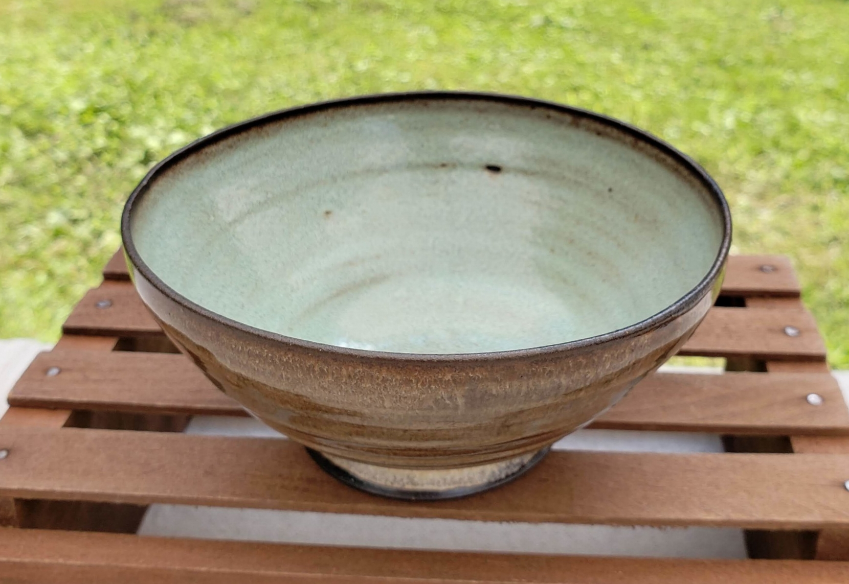 small bowl - cream and pale green glazedark brown clay body4 3/4
