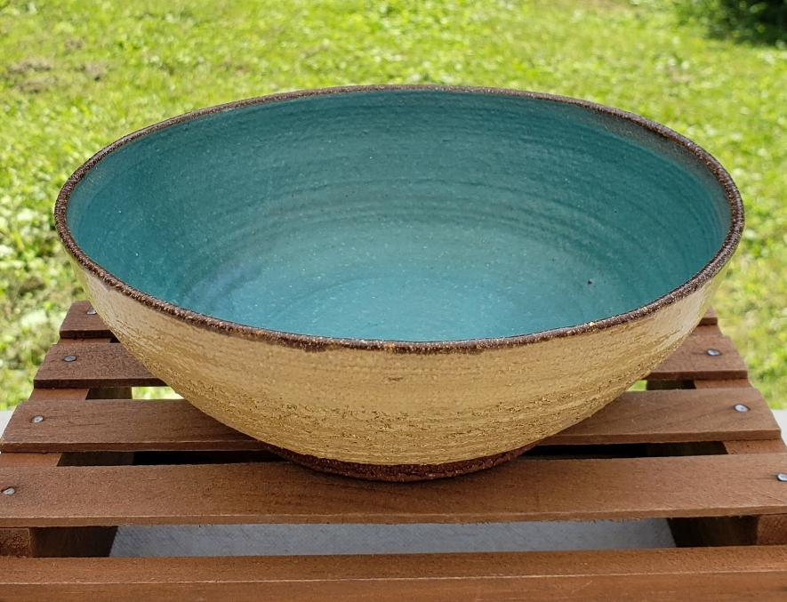 medium bowl - butter and turquoise glazecourse red clay body6 3/4