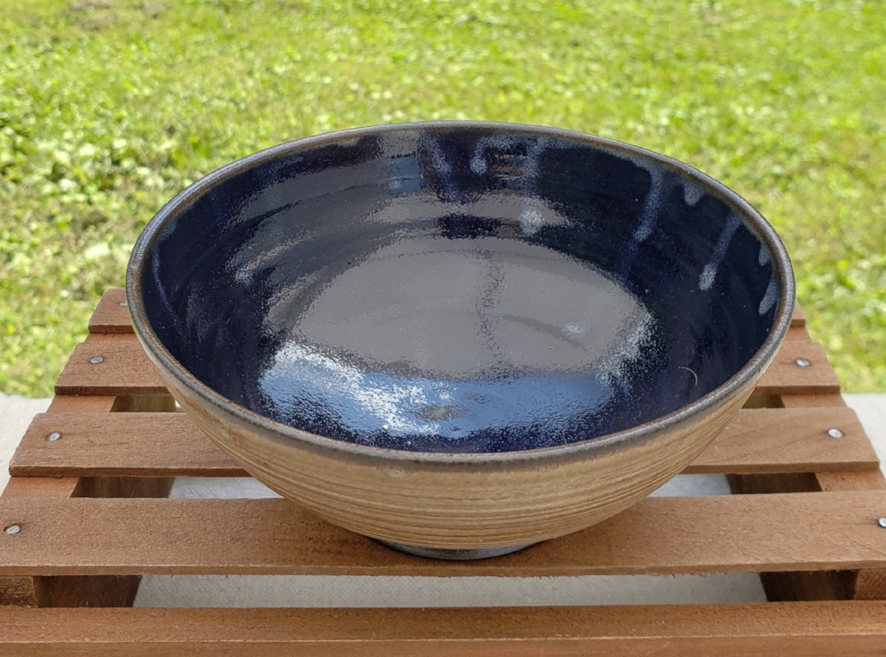 small bowl - cream and cobalt glazedark brown clay body5 1/4