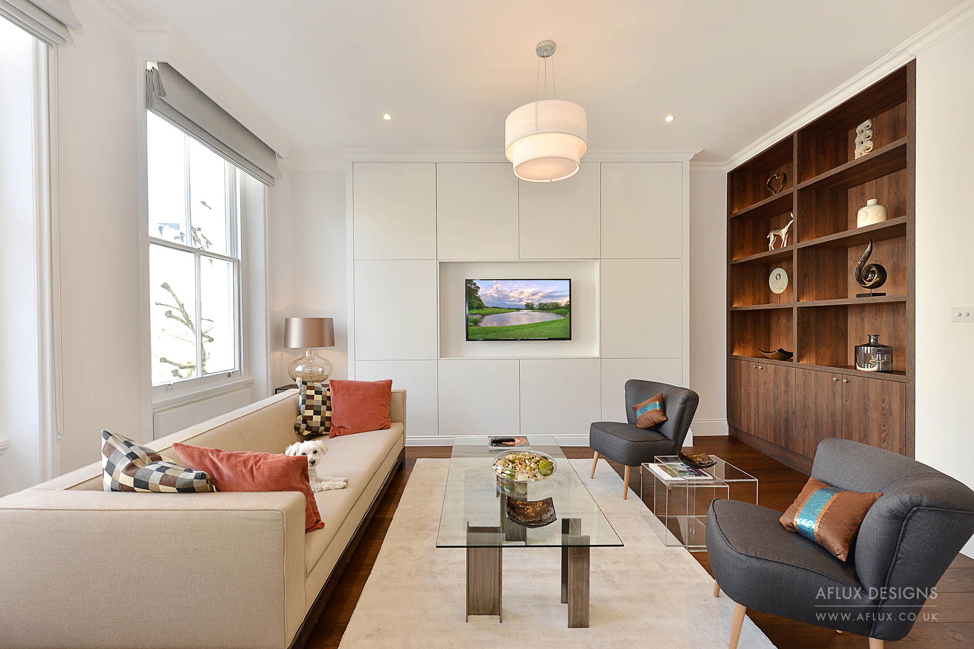 Queens Gate - LONDON SW7A second floor flat in a listed building on one of the most famous roads in South Kensington, London. floor to ceiling storage, including a 'hidden panelled door' to the main bathroom allowed for a very creative finish.