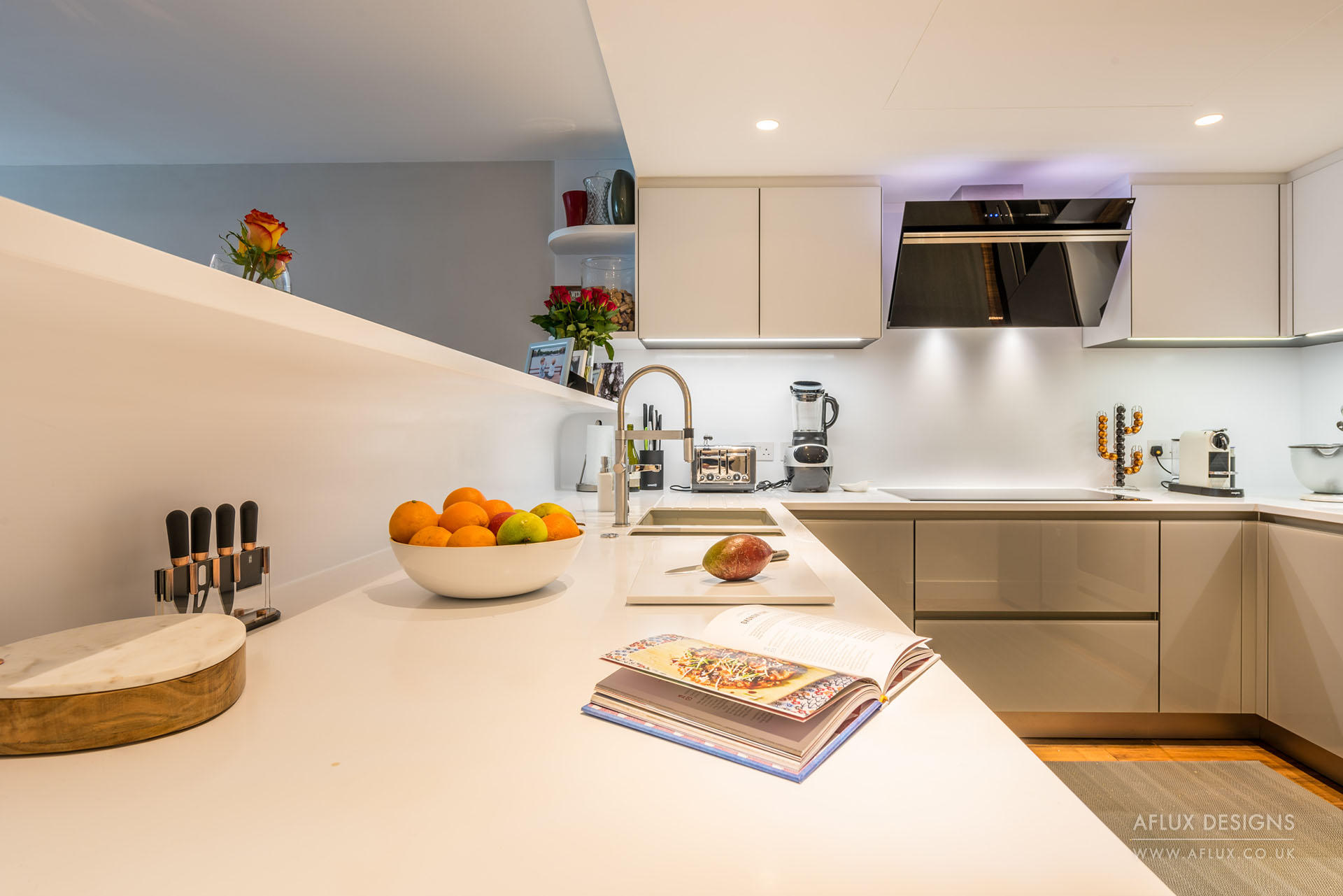Chelsea Bridge Wharf - BATTERSEA SW8When two flats become one, and our client allows creativity to flow with a vibrant mix of colours and modern design.