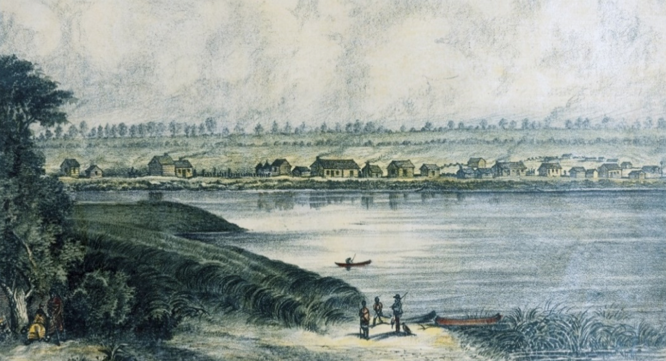 Peoria was settled as a French fur trading outpost in 1691 under the direction of the French explorer Henri de Tonti. The first Americans settled here in 1819. The village was first officially incorporated as a town on July 18, 1835. At that time, the settlement looked much like this view which was originally drawn in August 1831 by John M. Roberts. This colored reproduction was created later by Charles Overall.