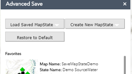 Advanced Save State - The Advanced Save State Widget gives you the ability to configure a Portal Web App and persist its state. Normally in a Web App, once you close the browser, your changes are gone. But with the Advances Save State Widget, once your map is complete, you can save that configuration and share it with other Portal users.