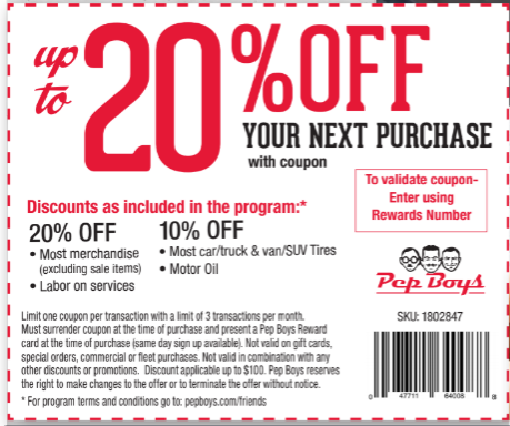 Pep boys - up to 20% off your purchase w/ coupon. Be sure to review terms and conditions as offer is subject to change without notice.